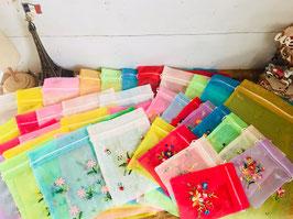 【お得用】数量限定!大中小45枚アソートセット!ベトナム刺繡オーガンジーバック