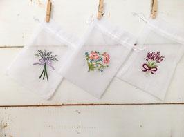 【3枚セット】フラワー刺繍オーガンジーバック