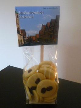 Weiße Schokoladentaler mit Fairtrade Espressobohnen - Dinkelsbühl Foto