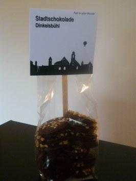 Zartbitter Schokoladentaler mit gehackten Bio Haselnusskernen - Dinkelsbühl Skyline