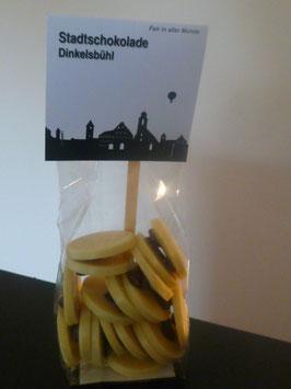 Weiße Schokoladentaler mit Fairtrade Espressobohnen - Dinkelsbühl Skyline