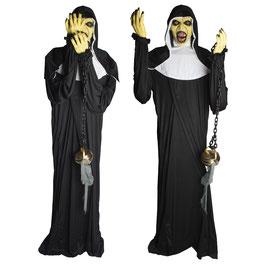 Horror Nonne mit Weihrauchkessel - Animatronic Halloween Deko