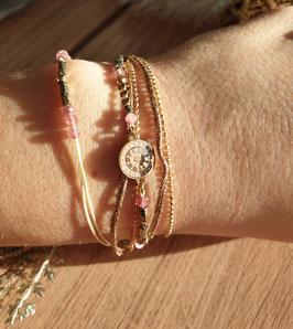 Bracelet multi-rangs Cloé Doré Rose