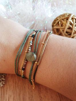 Bracelet multi-rangs Leyla Doré Turquoise
