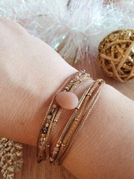 Bracelet multi-rangs Leyla Doré Rose
