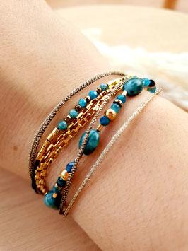 Bracelet multi-rangs Sibylle Lapis-Lazuli