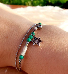 Bracelet double rangs Etoile Acier Vert