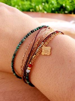 Bracelet multi-rangs Médaille Doré Vert