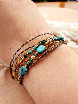 Bracelet multi-rangs Sibylle Turquoise