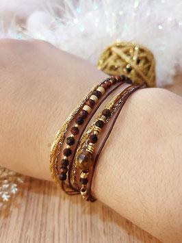 Bracelet multi-rangs Iseult Doré Marron