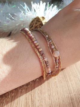 Bracelet multi-rangs Iseult Doré Rose