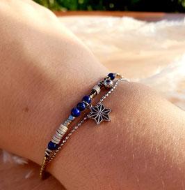 Bracelet double rangs Etoile Acier Marine