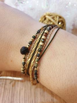 Bracelet multi-rangs Iseult Doré Turquoise Africaine