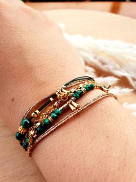 Bracelet six rangs Artémis Vert