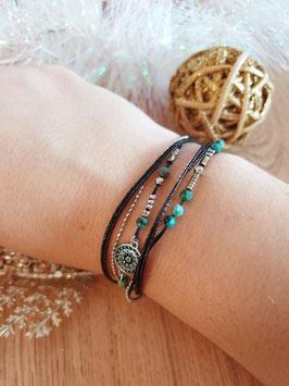 Bracelet multi-rangs Cloé Acier Noir