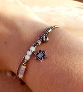 Bracelet double rangs Etoile Acier Blanc