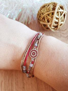 Bracelet multi-rangs Cloé Acier Rouge
