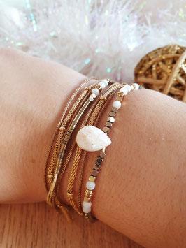 Bracelet multi-rangs Leyla Doré Blanc