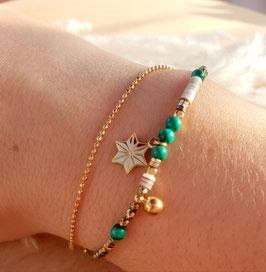 Bracelet double rangs Etoile Doré Vert
