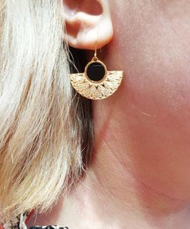 Boucles d'oreilles Eventail Doré Noir