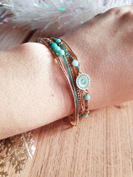 Bracelet multi-rangs Cloé Doré Turquoise