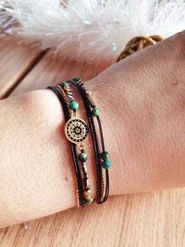 Bracelet multi-rangs Cloé Doré Noir