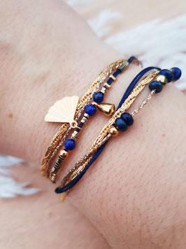 Bracelet multi-rangs Éventail Doré Marine