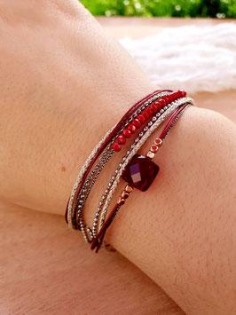 Bracelet multi-rangs Clara Acier Rouge