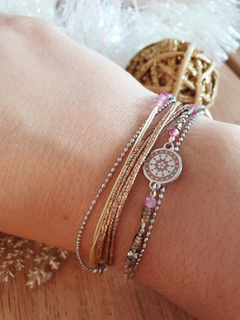 Bracelet multi-rangs Cloé Acier Rose