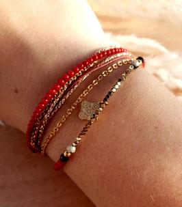 Bracelet multi-rangs Médaille Doré Rouge
