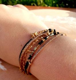 Bracelet six rangs Artémis Noir