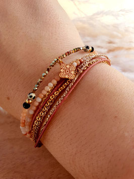 Bracelet multi-rangs Médaille Doré Rose