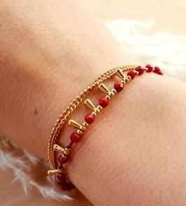 Bracelet Triple Rangs Hécate Jaspe Rouge