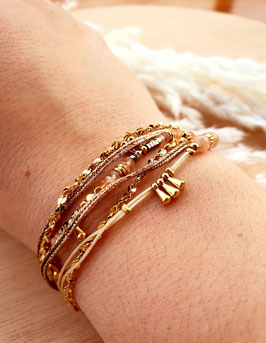 Bracelet six rangs Artémis Rose Pâle