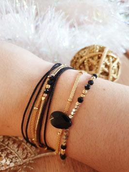 Bracelet multi-rangs Leyla Doré Noir