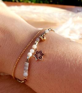 Bracelet double rangs Etoile Doré Blanc