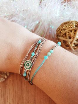 Bracelet multi-rangs Cloé Acier Turquoise