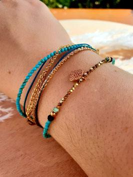Bracelet multi-rangs Médaille Doré Bleu Turquoise