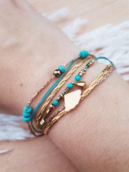 Bracelet multi-rangs Éventail Doré Turquoise