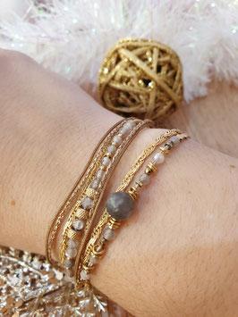 Bracelet multi-rangs Iseult Doré Gris
