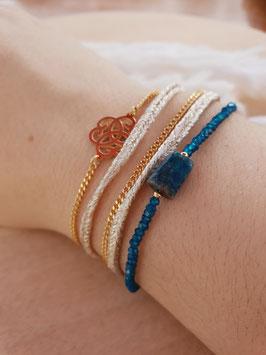 Bracelet multi-rangs Chance Doré Bleu