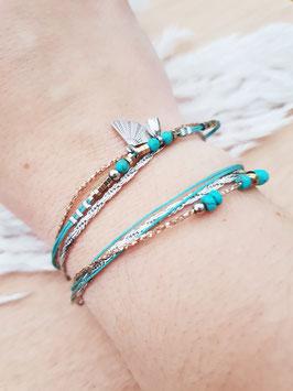Bracelet multi-rangs Éventail Acier Turquoise