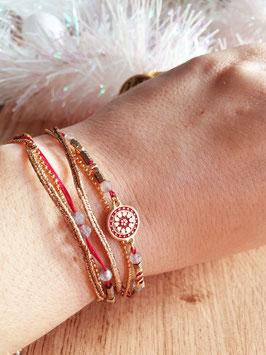 Bracelet multi-rangs Cloé Doré Rouge