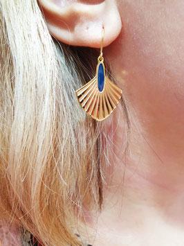 Boucles d'oreilles Art Déco Doré Marine