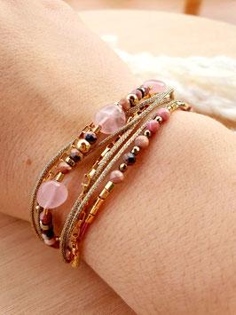 Bracelet multi-rangs Sibylle Quartz Rose