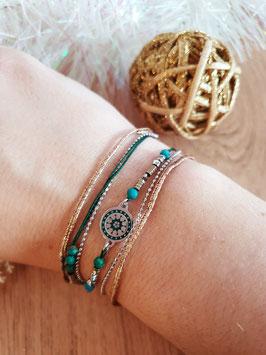 Bracelet multi-rangs Cloé Acier Vert