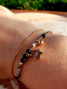 Bracelet double rangs Etoile Doré Noir