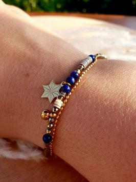 Bracelet double rangs Etoile Doré Marine