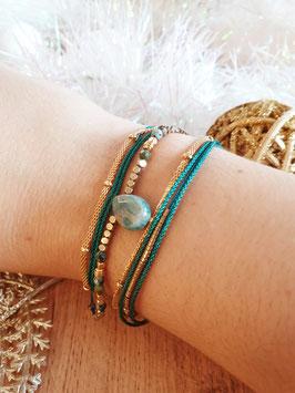 Bracelet multi-rangs Leyla Doré Vert Clair