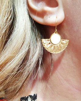Boucles d'oreilles Eventail Doré Blanc